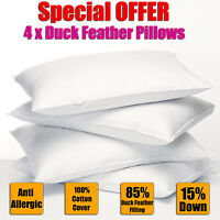 **SPECIAL OFFER** 4 x DUCK FEATHER & DOWN PILLOWS ONLY PACK OF 4 HOTEL QUALITY