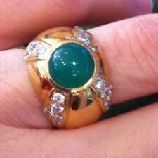 Round Chrysoprase Cabochon Ring with Diamonds 18k Yellow Gold - HM1174