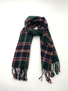 Vintage Clans of Scotland Pure Wool Scarf, Dark green, blue & red, 135cm x 29.5c