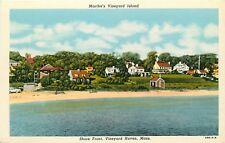 Linen Postcard MA Marthas Vineyard Island Shore Front Vineyard Haven Homes F468
