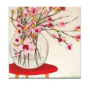 Red Table by ANNA BLATMAN Art Print on Canvas WALL ART 76x76 cm