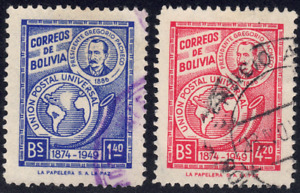 1950 Bolivia SC# 331-332 - F - President Gregorio Pacheco ,Map & Post Horn-Used