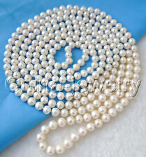 "P3475-100"" Long 10-11mm natural white round freshwater pearl necklace"