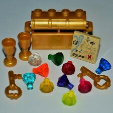 New Genuine LEGO Gold Treasure Chest Goblets Keys Map + 10 Jewels Gems Crystals