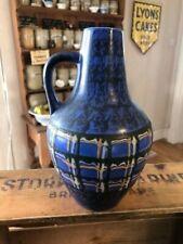 Vintage Vibrant Blue East German Pottery Handled Vase – Retro Design!