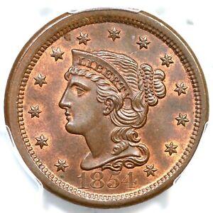 1854 N-21 R-2 PCGS MS 65 BN Braided Hair Large Cent Coin 1c