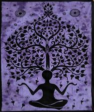 YOGA MAN & TREE DOUBLE SIZE COTTON BEDSPREAD / THROW / WALL HANGING / PURPLE