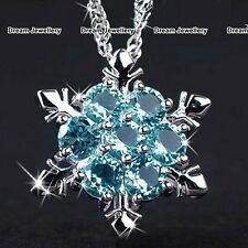 Frozen Silver Snowflake Aquamarine Necklace Gifts for Her Girlfriend Women Mum