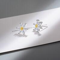 Crystal Zircon Flower Shape 925 Sterling Silver Women Stud Earrings Jewelry