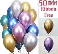 "20 Mix METALLIC LATEX CHROME BALLOONS Helium Large 10"" Wedding Birthday Party UK"
