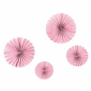 4 Frau Wundervoll Fächer rosa kl. Punkte Ø25-35 cm Papier Deko Rosetten Hochzeit