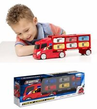 Teamsters Diecast 6 Car TRANSPORTER Truck Lorry Toy Red Vehicle Kids 1416251