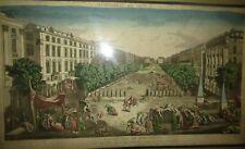 VUE d'OPTIQUE XVIIIème  Animée Cours de marseille Peste Noire 1720 engraving