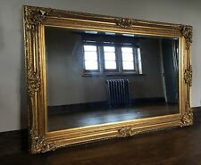 ANTIQUE GOLD  GILT BOUDOIR LARGE OVERMANTLE WALL FRENCH WOOD MIRROR 5FT x 4FT