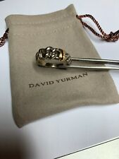 David Yurman Sterling Silver +18K Gold Narrow Metro Cable Ring Sz 9  EUC + Bag