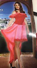 Rose Señorita Women's Costume Halloween Dress Pink Choker Hair Clip Size M 8-10