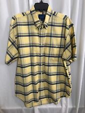 Towncraft Men's Button Front Shirt Sleeve Shirt , Yellow Blue Striped , Size L