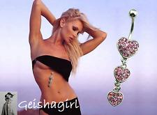 Crystal Pink CZ Gem Navel Dangle Triple Heart Bar Piercing Belly Ring Bar UK