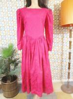 M 12 - Vintage 70's Dress Bright Pink Prom Evening Wear - W26