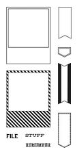 Teresa Collins Clear Stamps - Frames for Scrapbooks- File, Tabs, Poloroid Photo