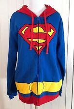 Superman Blue Red Zipper Hoodie Sweater Size Medium
