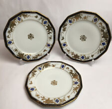 More details for naritake japanese plates white blue and gold  decorated in flowers made japan