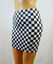 "Racing Mini Skirt Black White Check Flag Sexy 12"" Bodycon Party Womens Club S145"