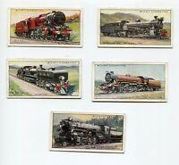 1930 W.D. & H.O. WILL'S CIGARETTES RAILWAY LOCOMOTIVES 5 CARD LOT