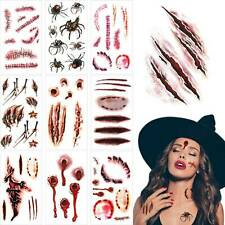 30Pcs Halloween Zombie Scars Tattoos Scary Scab Blood Costume Party Sticker