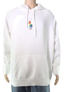 Polo Ralph Lauren Mens Hoodie Classic White Size Medium M Pullover $128- #207