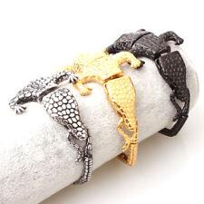 Silver Gold Black Crocodile Bracelet Bracelet Punk Men Gift 316L Stainless Steel