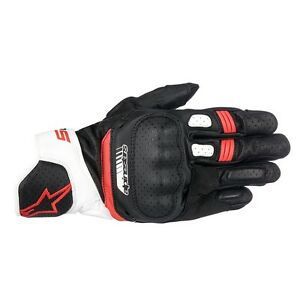 10% Off ALPINESTARS SP5 Black/White/Red Leather Short Motorbike Gloves