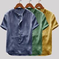 Men's Short Sleeve Casual Linen Shirts V Neck Beach Party Hippy Blouse Tops Tees