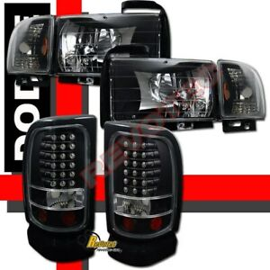 94-01 Dodge Ram 1500 2500 3500 Pickup Black Headlights Signal + LED Tail Lights