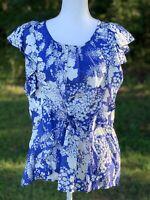 Velvet Brand Blouse White Blue Floral 100% Silk Shirt Size Medium Top