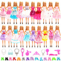 Barwa for Barbie 10 Random Banquet Skirt + 10 Dress Up Accessories + 10 Shoes