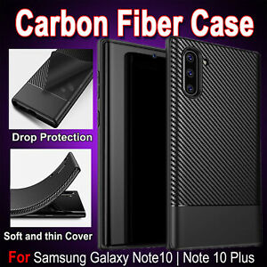 For Samsung Note 10 - Note 10 Plus Carbon Fiber Shockproof Heavy Duty Case Cover