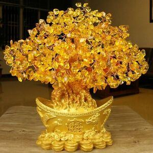 Feng Shui Money Wealth Tree Yellow Citrine Crystal Gem Spiritual Lucky HomeDecor