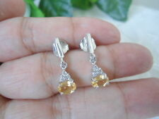 Natural Golden Yellow CITRINE & WHite CZ Stones Sterling 925 Silver EARRINGS