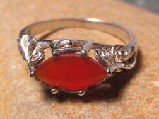 Sterling silver everyday cut carnelian gemstone ring UK N/US 6.75. Gift Bag.