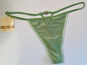 NWT SECRET TREASURES LARGE 7 SMOOTH GREEN BUTTERFLY JEWEL V STRING THONG PANTIES