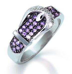 925 Silber Ring Gürtelschnalle mit  34 Zirkonia Steinen rhodiniert  Grösse  56
