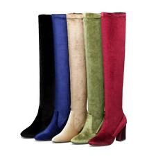 Women Stretchy Velvet Over Knee Thigh High Boots Chunky High Heels Winter Shoe D