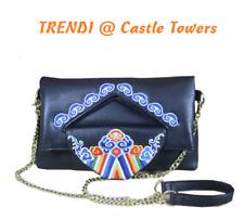 Tribal embroidered vintage BOHO Leather handbag, cross shoulder bag, clutch bag