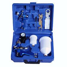 2x HVLP Lackierpistole Spritzpistole + Set + Manometer + Becher Koffer 1,3+0,8mm