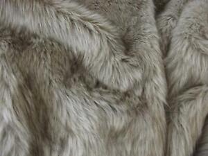 Super Luxury Faux Fur Fabric Material - LONG PILE OATMEAL