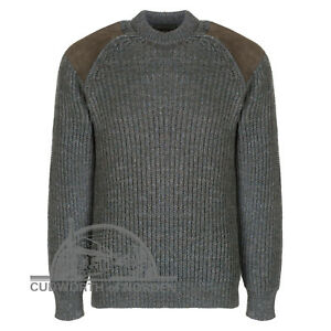 CHUNKY KNIT COUNTRY JUMPER WASHABLE SUEDE PATCHES 100% British wool Autumn SALE