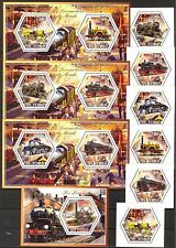 Chad 2014 Old Trains Locomotives set of 6 + 4 S/S MNH**