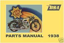 BSA Parts Manual 1938 M24 Y13 G14 B20 B23 B21 B22 B24 B25 B26 M19 M20 M21 M22 M2