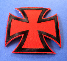 BRAND NEW BLACK & RED IRON CROSS BIKER IRON ON PATCH